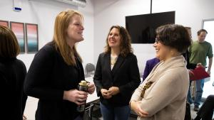 Chair Deborah Kafoury, center, and Commissioner Jessica Vega Pederson, right, with a participant at Laurelwood Center on Friday, Dec. 6, 2019.