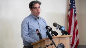 Oregon Health Authority Health Officer and State Epidemiologist Dr. Dean Sidelinger at a March 9 press briefing on COVID-19