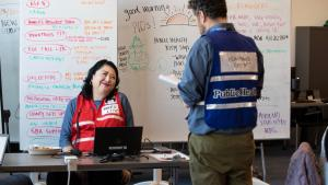 Mary Li, who normally leads efforts at the Multnomah Idea Lab, takes a leading role at the emergency operation center