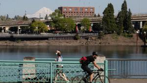 Multnomah Building and Portland waterfront.
