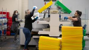 Picture of ballot sorting at the Multnomah Elections office.