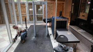 Multnomah County Facilities staff repaired the downtown Justice Center after damage from a riot.