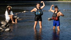 Children playing on the Sandy River