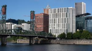 The new Central Courthouse from the East Willamette River bank.