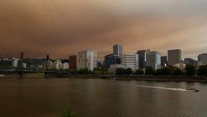 Smoke fills the sky above downtown Portland Sept. 9, 2020