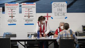 Red Cross staff and volunteers are operating a shelter at the Oregon Convention Center