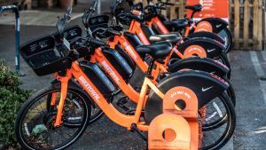A row of the distinct orange bikes of Nike's Bike Town.