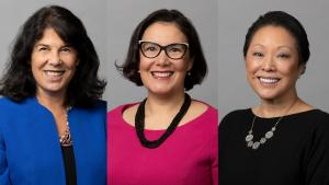 Commissioners Sharon Meieran, Jessica Vega Pederson and Lori Stegmann were sworn in for their second terms Jan. 7, 2021.