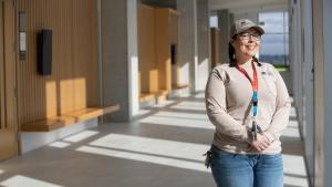 Electrician Mauni Stiffler spent two years installing security systems at Multnomah County's new Central Courthouse.