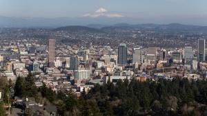 City scape with Multnomah County Building and Mount Hood