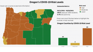 County risk level map, April 28, 2021