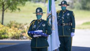 Sheriff Mike Reese and members of the Sheriff's Office Honor Guard paid tribute Deputy Sheriff Ernest Loll was shot and killed in September 1935, while investigating a report of poachers.