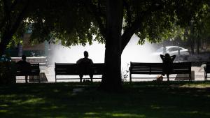 People seek shade during June 2021 heat wave.