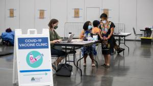 Vaccine clinic that opened June 25 at a County cooling shelter.
