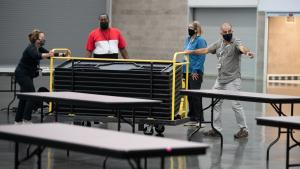 County staff set up the Oregon Convention Center Cooling Center, June 25, 2021