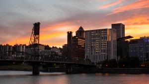 A picture of the Portland cityscape during sunset