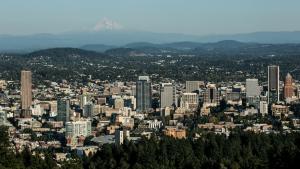 Portland skyline with Mt. Hood