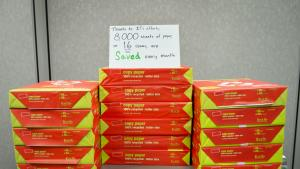 Annual savings total 96,000 sheets of paper each year