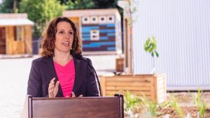Multnomah County Chair Deborah Kafoury speaks at a community open house for the Kenton Women's Village project Friday, June 9, 2017. (photo courtesy of Catholic Charities 2017)