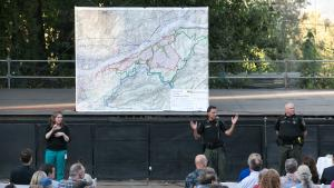 Large map displayed at an Eagle Creek Fire community meeting as Sheriff Reese talked