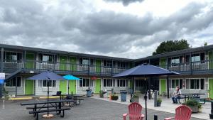 A physical distancing motel shelter has opened at the Banfield Value Inn.