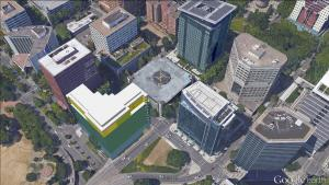 Aerial view of concept for courthouse at west Hawthorne Bridgehead site.