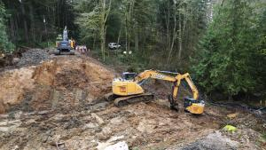 Aerial view of work zone for NW Rock Creek Road culvert replacement, March 5, 2020.