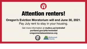 image alerting people that the eviction moratorium expires June 30, 2021