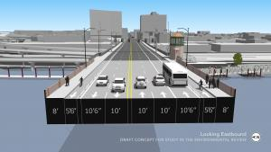 The new traffic layout for the Burnside Bridge includes an eastbound bus only lane and buffer zone along bike lanes.