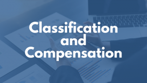 Classification and Compensation in white text font in blue background.