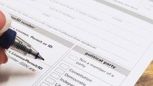 voter registration card that is zoomed in on party choice options