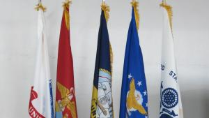 Flags on display at Community Covenenat ceremony