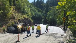 Completing base pavement later in Cornelius Pass Road S curves, 8-24-2020