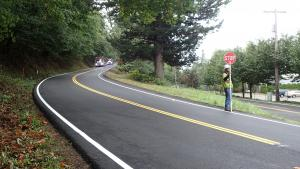 Corbett Hill Rd after paving and striping, 10-1-2021.