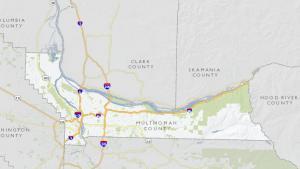 Map showing boundaries of Multnomah County