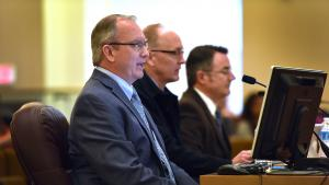 Courthouse Project Manager JD Deschamps, Owner's Representative Mike Day & Communications Coordinator Mike Pullen give presentation to Multnomah County Board