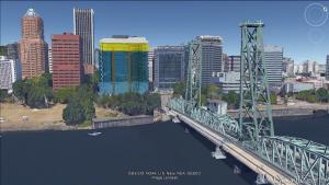 Central courthouse concept at west end of Hawthorne Bridge
