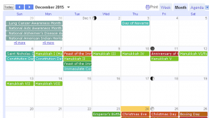 snap of diversity calendar with lots of events in December