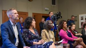 Mayor Ted Wheeler, from left, Commissioner Sharon Meieran, Commissioner Jo Ann Hardesty and Commissioner Susheela Jayapal listen as Portland Street Response survey results are unveiled Thursday, Sept. 19, 2019.