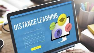 Photo of computer that says distance learning