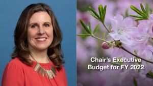 Chair Deborah Kafoury and the cover of her Executive Budget