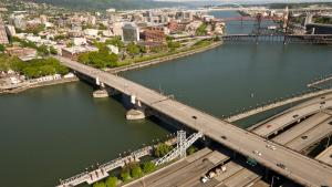 The current Burnside Bridge, seen from the air.