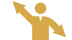 icon of a person with arrows for arms that are pointing in specific directions