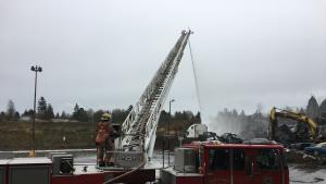 Portland Fire works to extinguish a salvage yard fire.