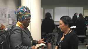 Debbie Clavon and Multnomah County Commissioner Lori Stegmann, right, at the East County Caring Community's March 2, 2017, meeting.