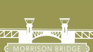 Drawing of Morrison Bridge in downtown Portland