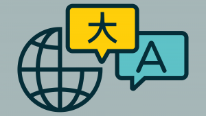 icon shows thought bubbles with words in different alphabets