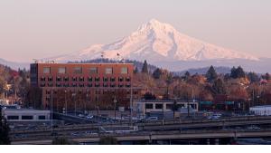 Multnomah Building with Mount Hood