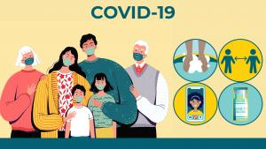 Multi-generational family wearing masks with icons representing washing hands, staying 6 feet apart, virtual visits and getting the vaccine.