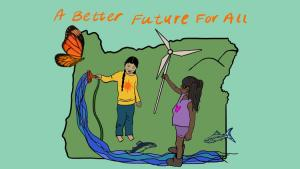 Drawing fwo children playing, one holding a windmill the other a hose from which pours a river, superimposed over a map of Oregon.